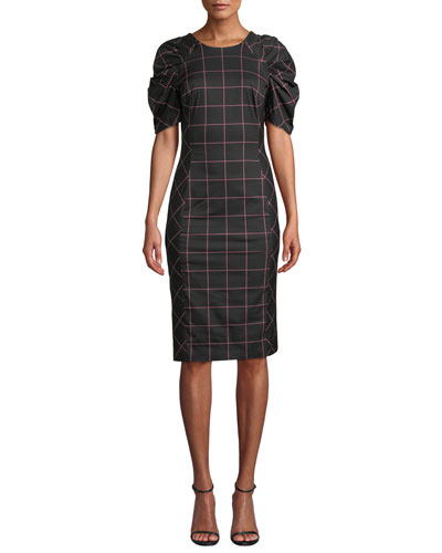 Aria Check-Print Techno Dress