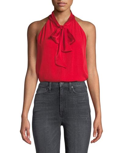 Lura Tie-Neck Drape Top