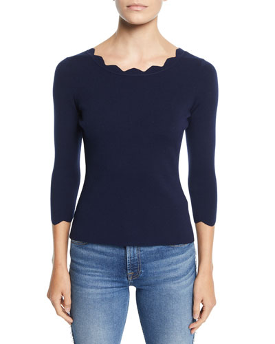 Scalloped-Neck 3/4-Sleeve Pullover