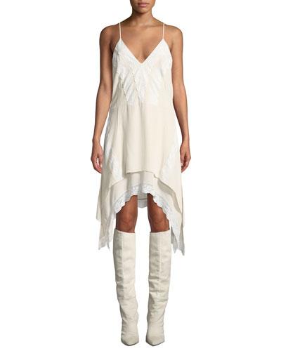 Gift V-Neck Spaghetti-Strap Lace Trim Handkerchief Dress