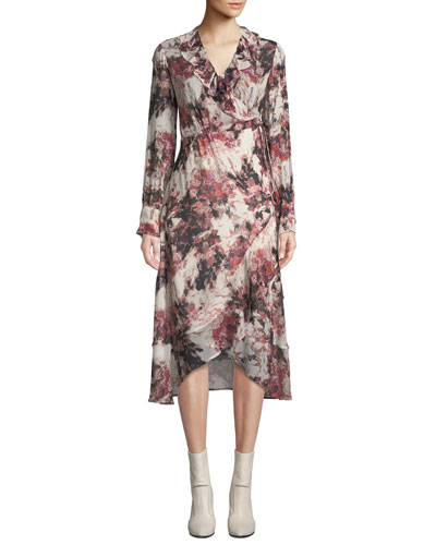 Garden Surplice Long-Sleeve Printed Wrap Dress