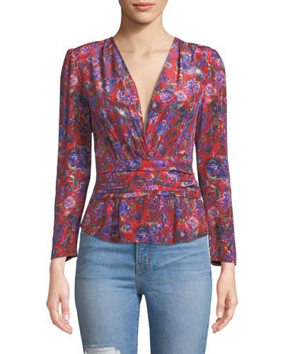 e582fafe6f353c Hurl V-Neck Long-Sleeve Floral-Print Silk Top