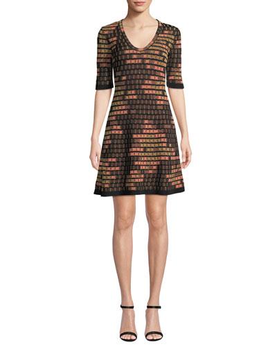 Short-Sleeve Short Geometric Jacquard Dress
