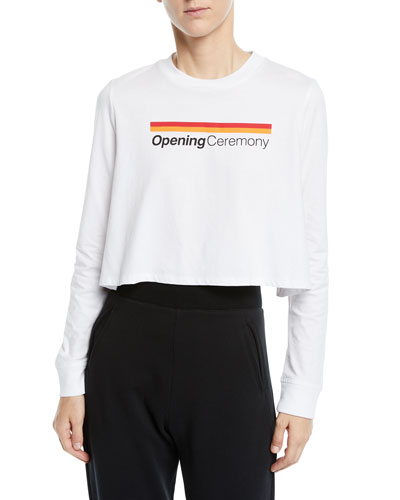 Long-Sleeve Graphic Logo Cropped Tee