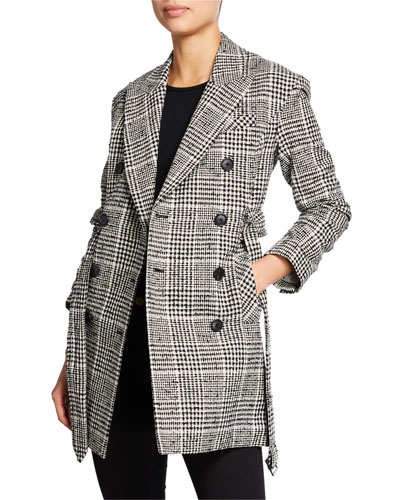 Augusta Double-Breasted Check Coat