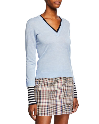 Avory Wool Sweater with Contrasting Sleeves and Neck