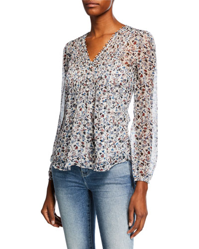 3669e2a88046e Lowell V-Neck Long-Sleeve Floral-Print Blouse