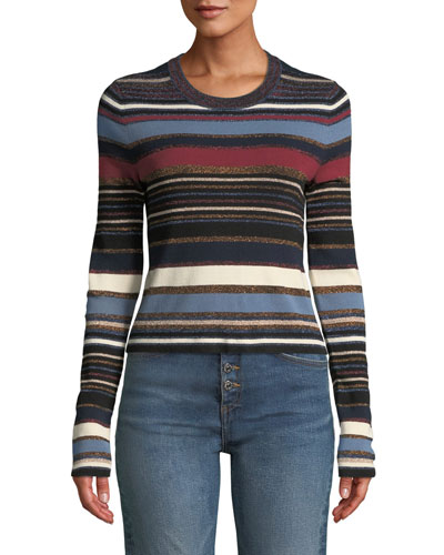 Palmas Striped Metallic Cropped Sweater