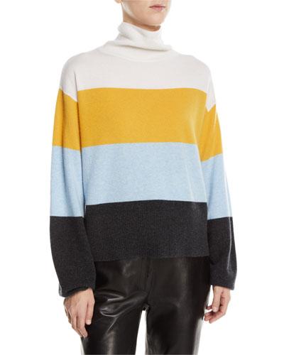 Faber Cashmere Turtleneck Colorblock Sweater