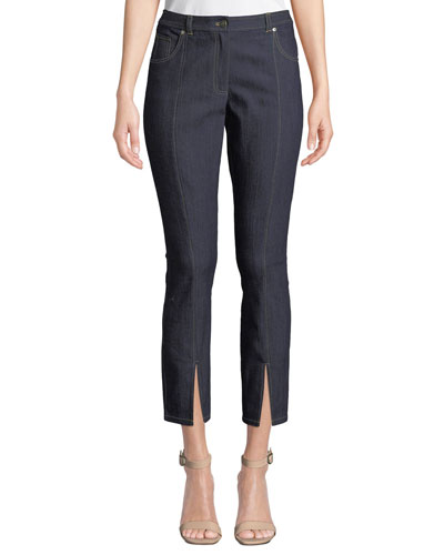 Rosa Mid-Rise Split Straight-Leg Pants