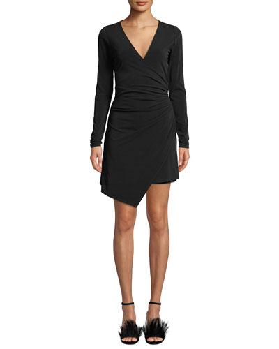 Coralie Ruched V-Neck Asymmetrical Mini Dress