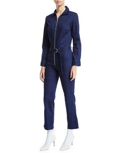 Valen Zip-Front Belted Denim Jumpsuit