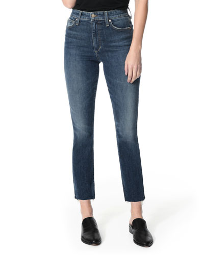 The Milla Cut Hem High-Rise Straight-Leg Jeans