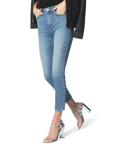 The Charlie Studded Skinny Ankle Jeans