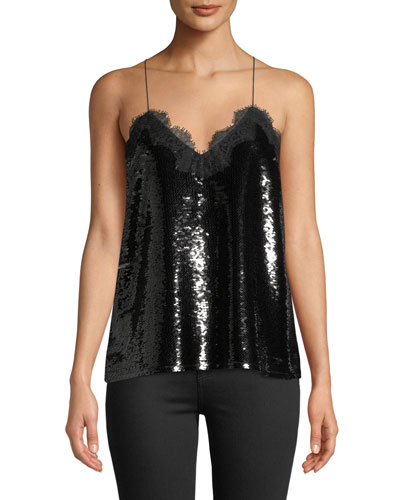 The Racer Sequin Camisole with Lace Trim