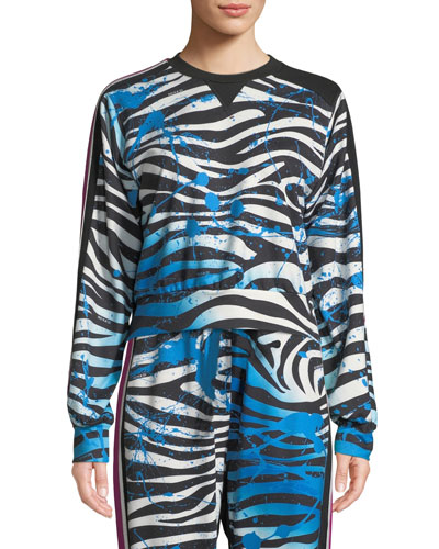 Nola Zebra-Print Cropped Sweatshirt