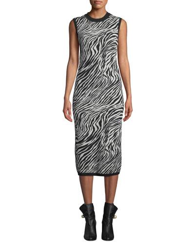 Zebra-Print Sleeveless Tube Dress