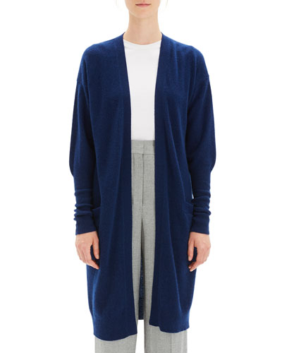Lightweight Open-Front Long Cashmere Cardigan