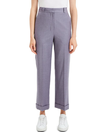 Cuffed Straight-Leg Flannel Cropped Pants