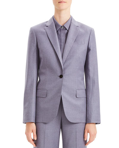 Tailored Flannel Single-Button Wool Staple Blazer