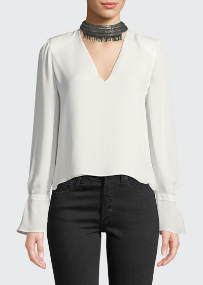 Annete Embellished Silk Bell-Sleeve Top