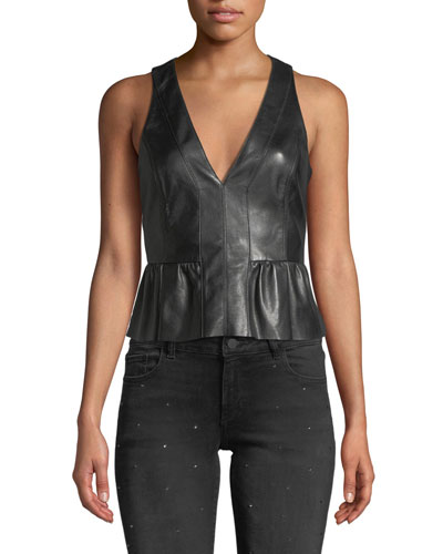 Reese Cropped Leather Peplum Top