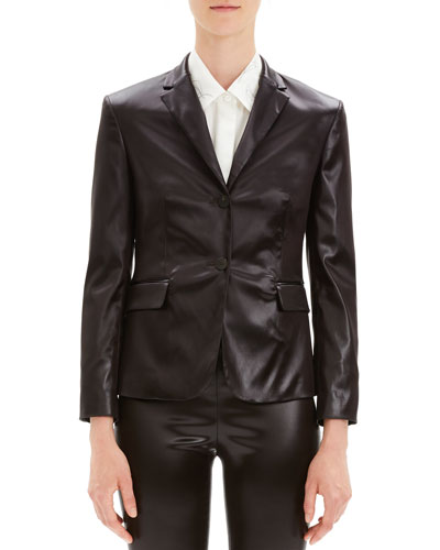 Shrunken Glossy Two-Button Jacket