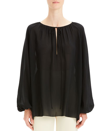 Gathered Silk Long-Sleeve Keyhole Top
