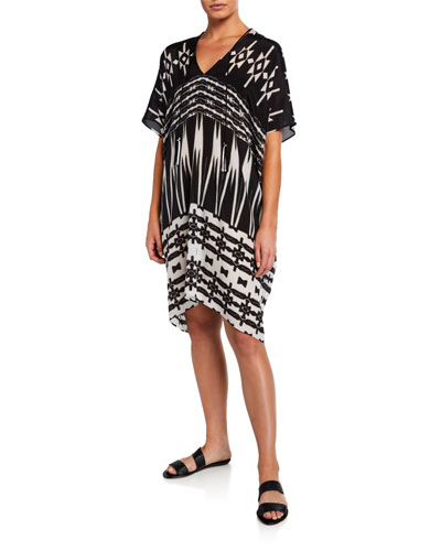 Silk Relaxed-Fit Short-Boubou Coverup
