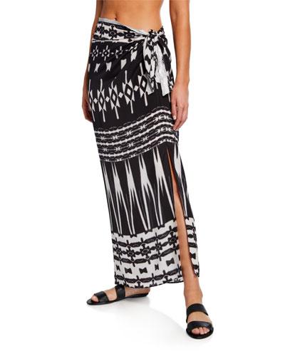 Silk Midi Sarong Skirt