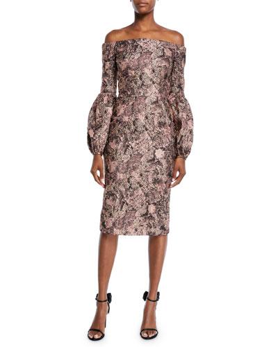 Metallic Blouson-Sleeve Dress