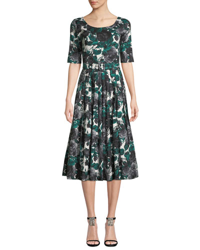 Florance Floral-Print 1/2-Sleeve Midi Dress