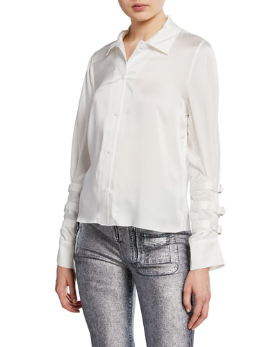 Rafaella Silk Button-Front Top w/ Belted Sleeves