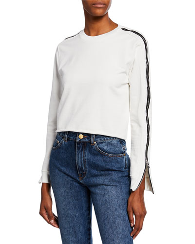 November Side-Zip Cropped Raw-Edge Sweater