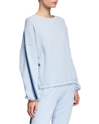 90243a234ce56 French Terry Dropped-Shoulder Pullover w  Side Stripes