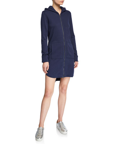 Zip-Front Long-Sleeve French-Terry Hooded Dress