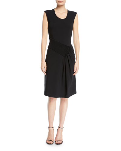 Pleated Scoop-Neck Jersey Dress