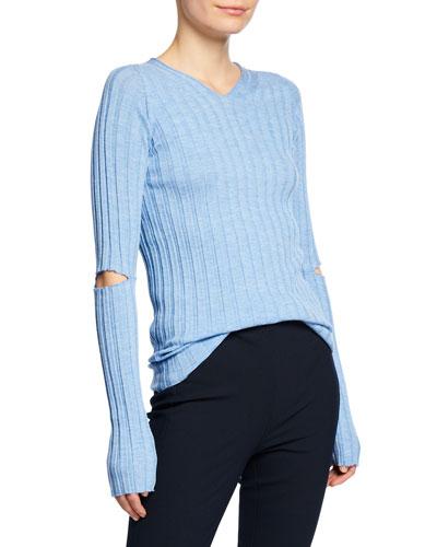 Ribbed V-Neck Sweater with Slash Details