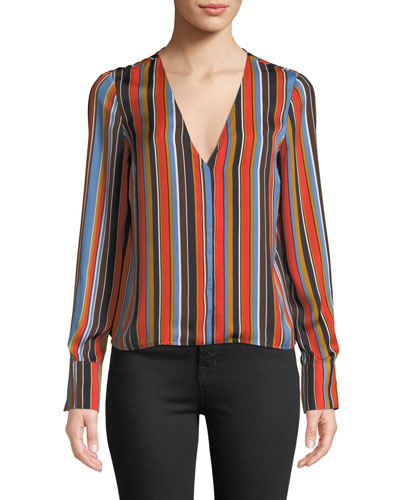 Doreen Striped V-Neck Long-Sleeve Top