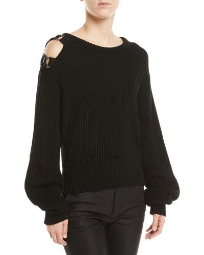 Buckle-Shoulder Rib Knit Sweater