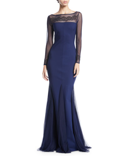 Nieves Embroidered Illusion Trumpet Gown 5c8d7bd690b09