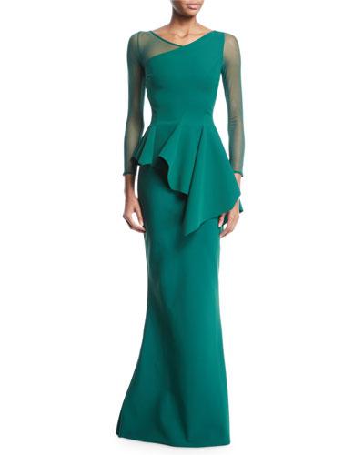 Chayon Illusion-Sleeve Asymmetric Peplum Gown