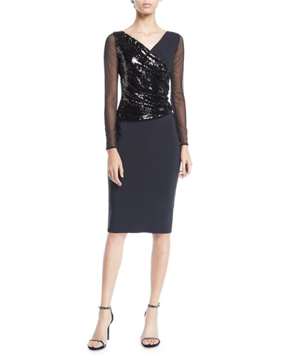 Hilaria Illusion Sparkle Body-Con Dress