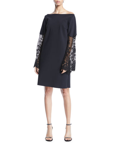 Alala Off-the-Shoulder Lace-Sleeve A-line Dress