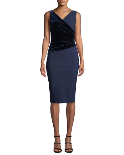 Hilaria Sleeveless Velvet-Wrap Dress