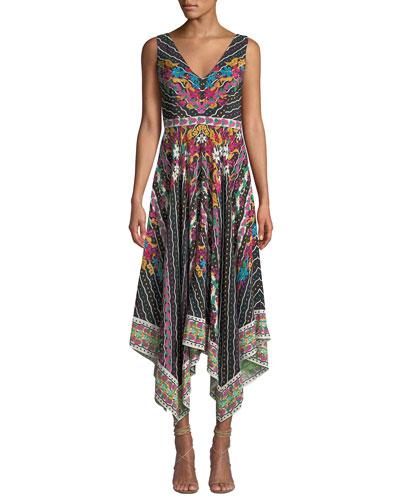 Zuri Printed Sleeveless V-Neck Dress