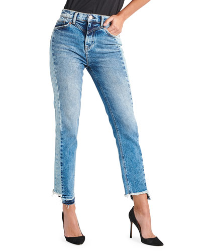Zoeey High-Rise Straight Cropped Jeans with Front Yoke