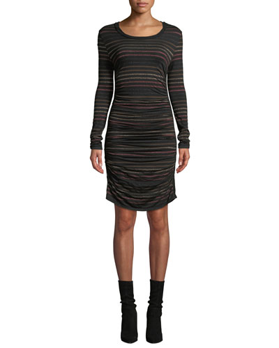 Daphne Striped Metallic Long-Sleeve Dress