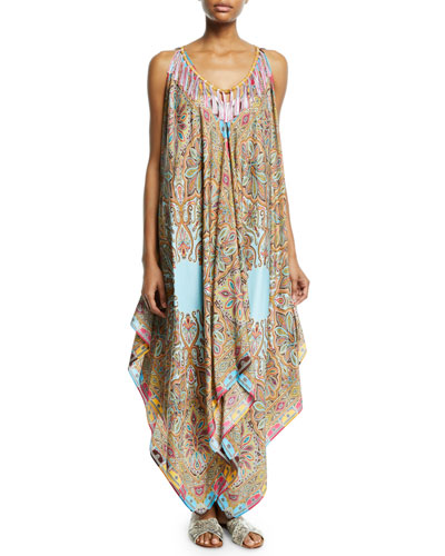 Silk Fringe Printed Handkerchief Dress