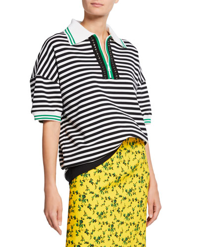 Striped Short-Sleeve Oversized Cotton Sweatshirt